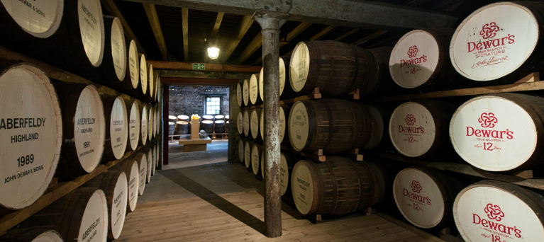 The warehouse at Dewars Aberfeldy Distillery - whisky distillery in Perthshire