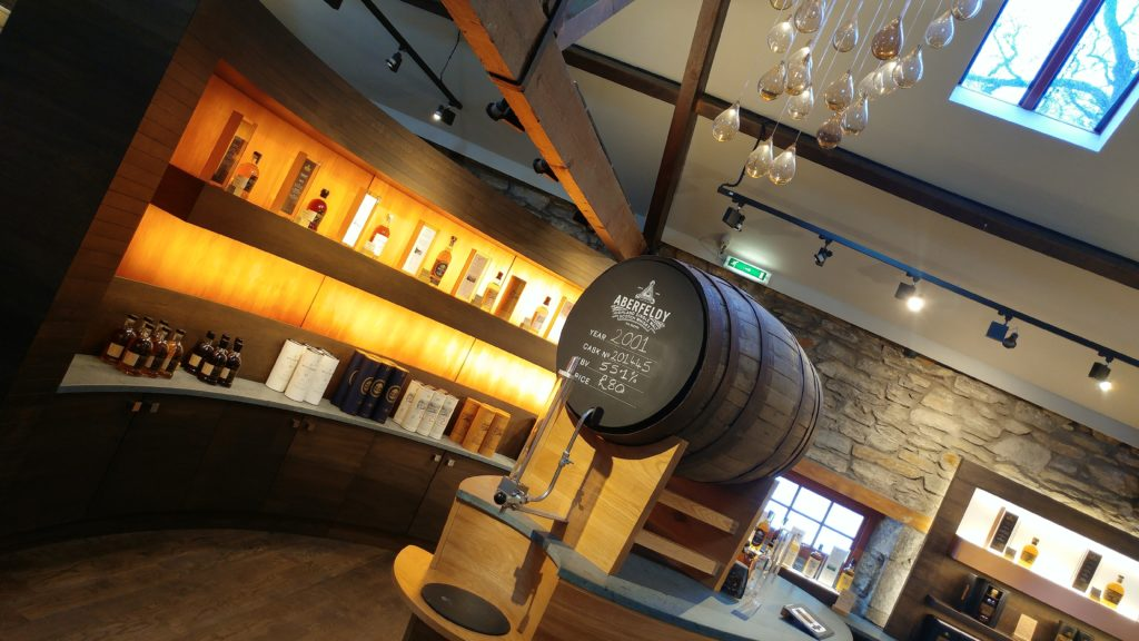 Image of a tapped barrel in the shop at Dewar's Aberfeldy Distillery