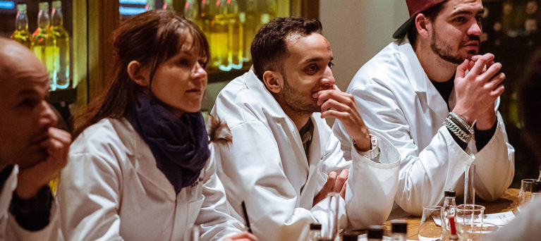 People learning in whisky blending session