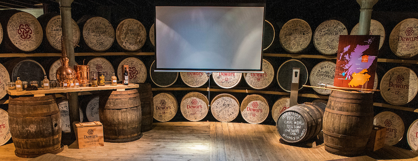 Warehouse display at Dewar's Aberfeldy Distillery