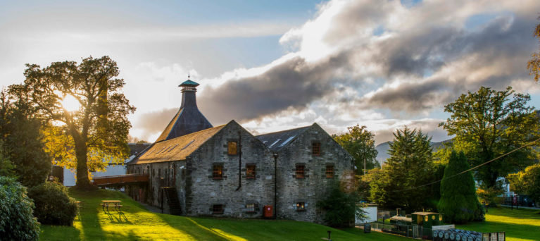 View of Dewar's Aberfeldy Distillery and the surrounding Perthshire countryside