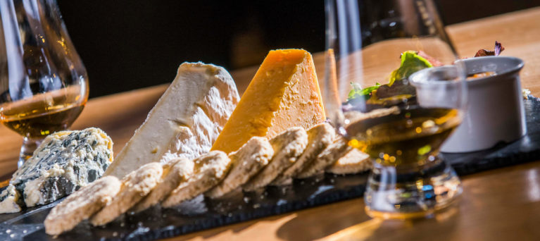 Image of cheese platter and whisky